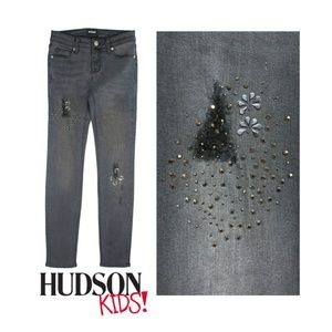 NEW Hudson Girls Studded Gray Skinny Jeans Kids